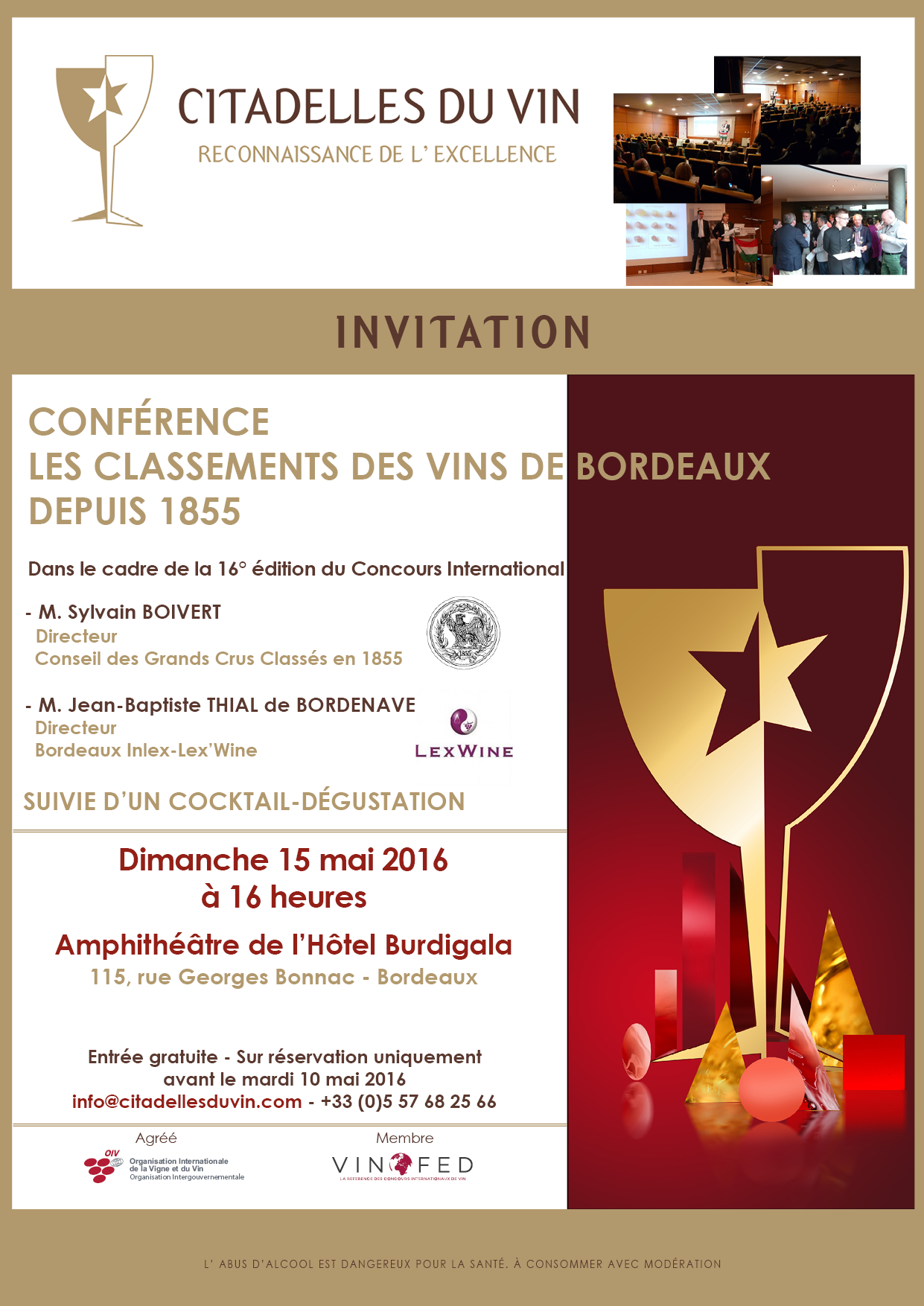 Invitation conference Citadelles du Vin 2016
